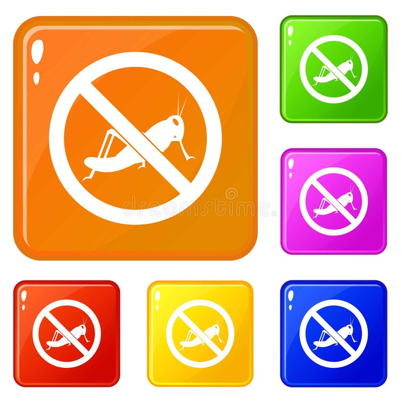 No locust sign icons set vector color stock illustration