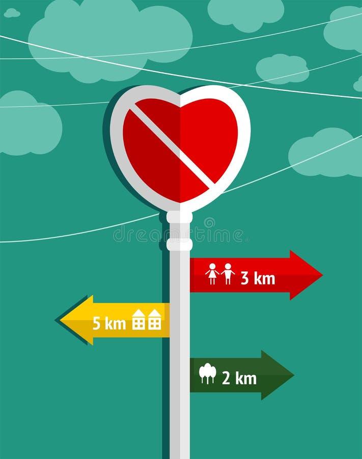 No Love Heart Shape Sign Graphic Design Stock Illustration