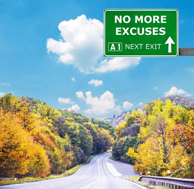 NO MÁS de señal de tráfico de las EXCUSAS contra el cielo azul claro fotografía de archivo libre de regalías
