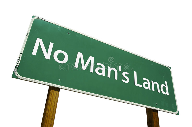 No Man's Land road sign. Isolated on a white background. Contains Clipping Path royalty free stock photos