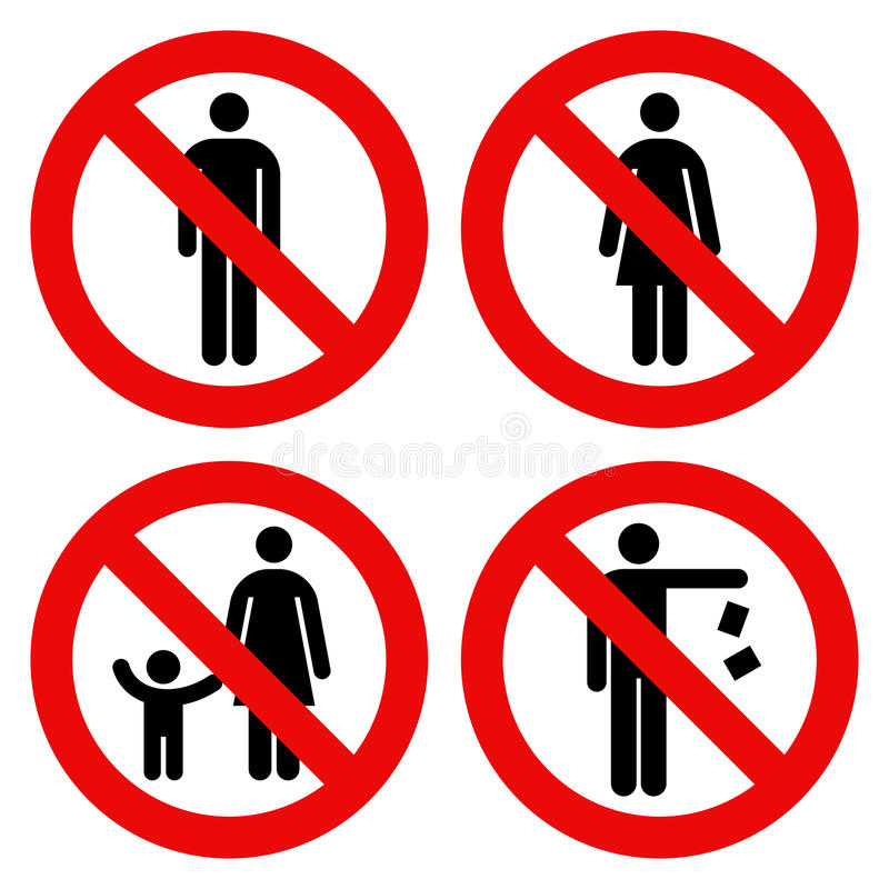 No man sign, No woman sign, Parent and child sign, No littering royalty free illustration