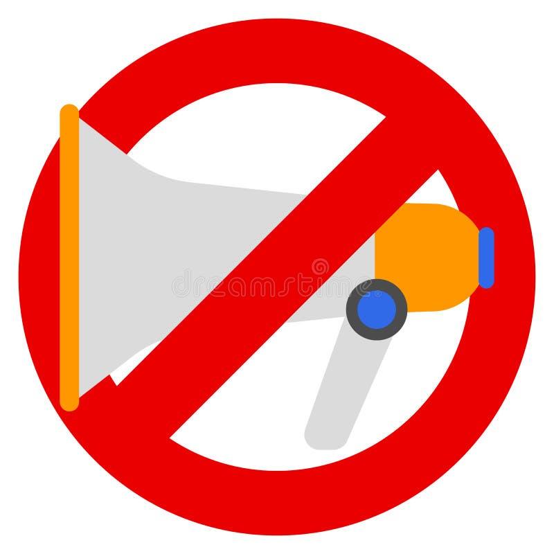 No megaphone or no speaker prohibition sign vector illustration stock illustration