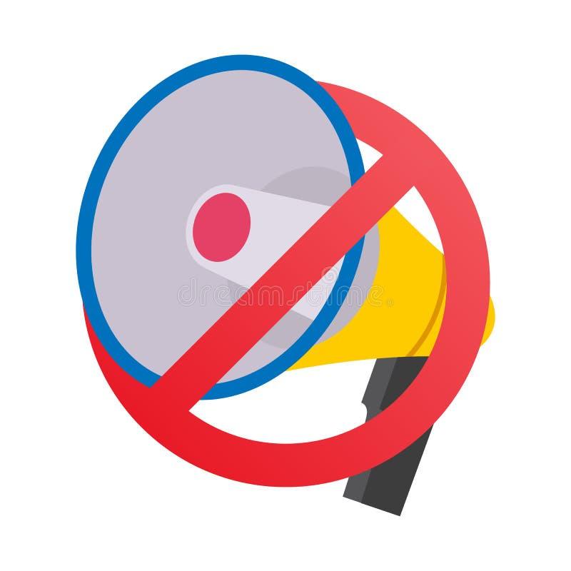 No Megaphone, No Speaker Prohibition Sign Vector. royalty free illustration
