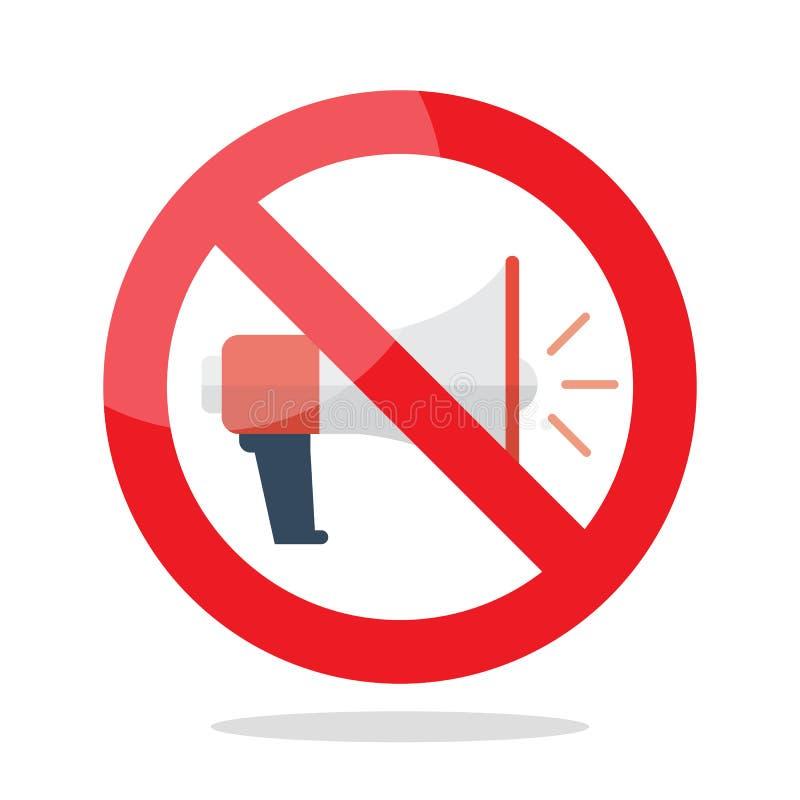 No megaphone prohibition sign royalty free illustration