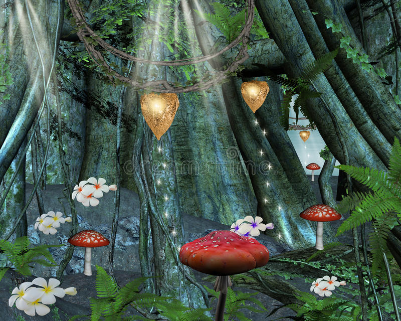 No meio da floresta secreta ilustração do vetor