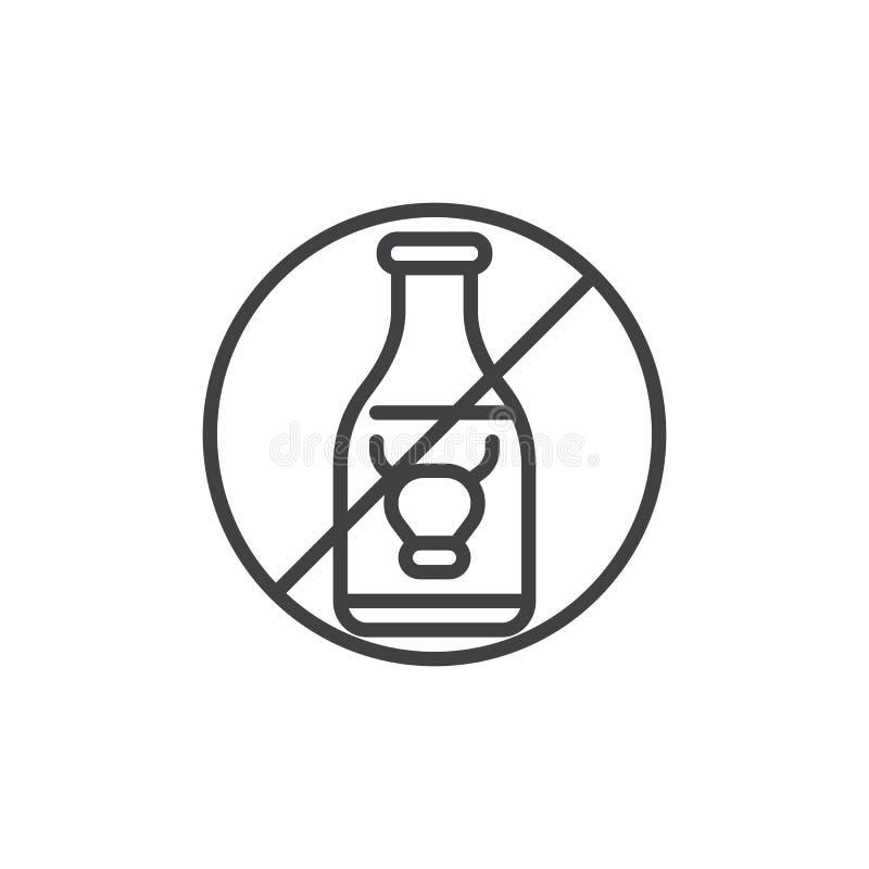No milk, prohibition vector icon stock illustration