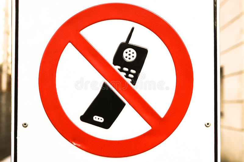 No mobile phones allowed. Sign no mobile phones allowed stock image