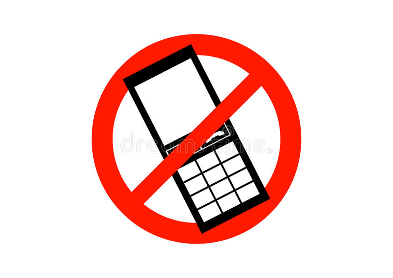 No Mobile Phones Sign royalty free illustration
