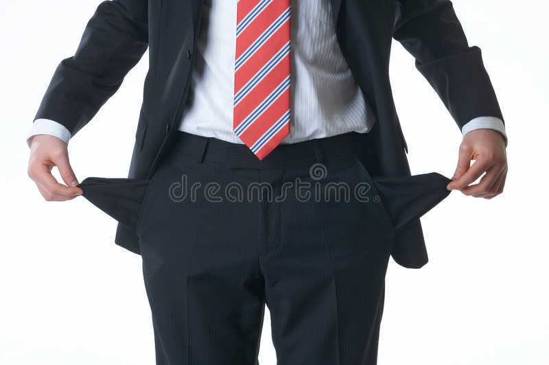 No money. Cantle of a businessman with no money in his bag royalty free stock photography