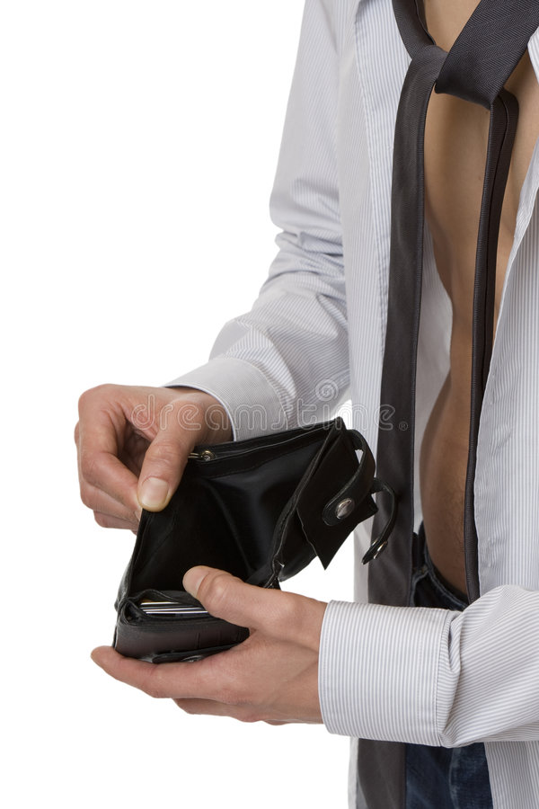 No money in the purse. As a symbol of the flop and financial difficulties stock image