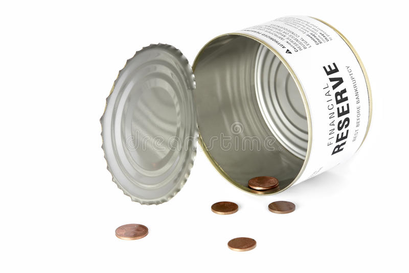 No money in the reserve. A can with some change showing no money in the financial reserve stock photo
