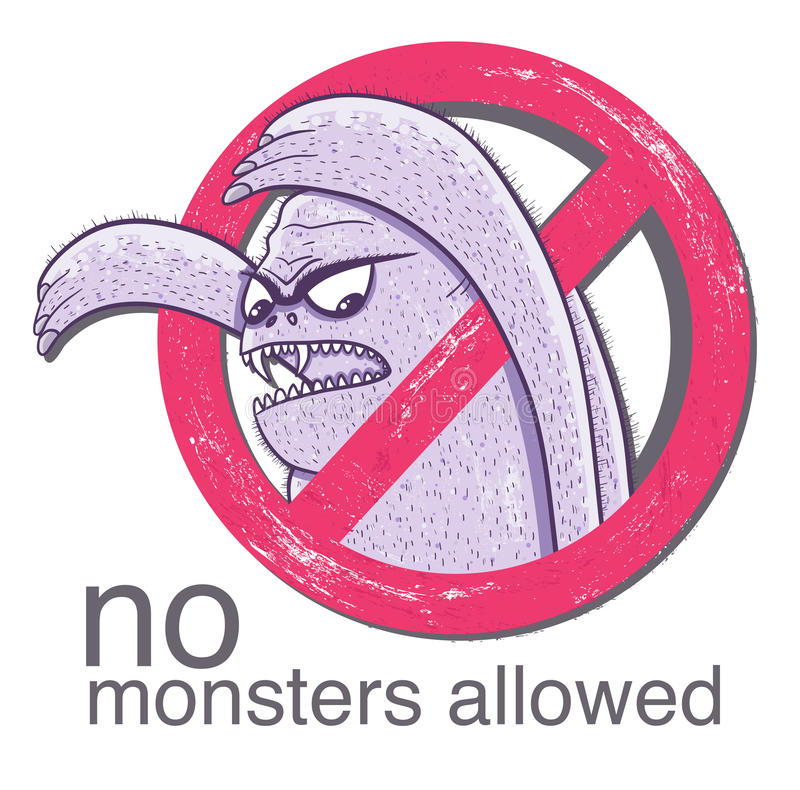 Free No Monster Allowd Sign Stock Photo - 33794090