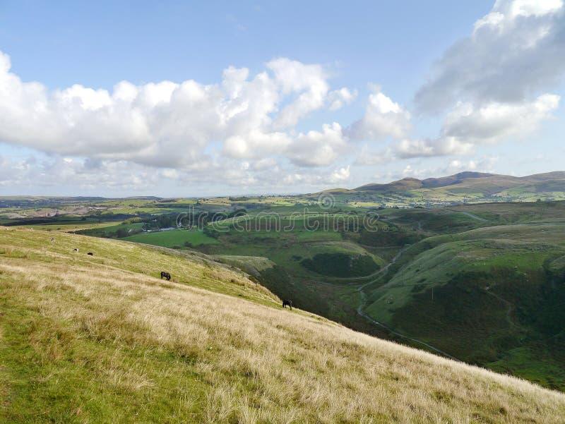 No montanhês acima do vale que olha através da cena do campo fotos de stock