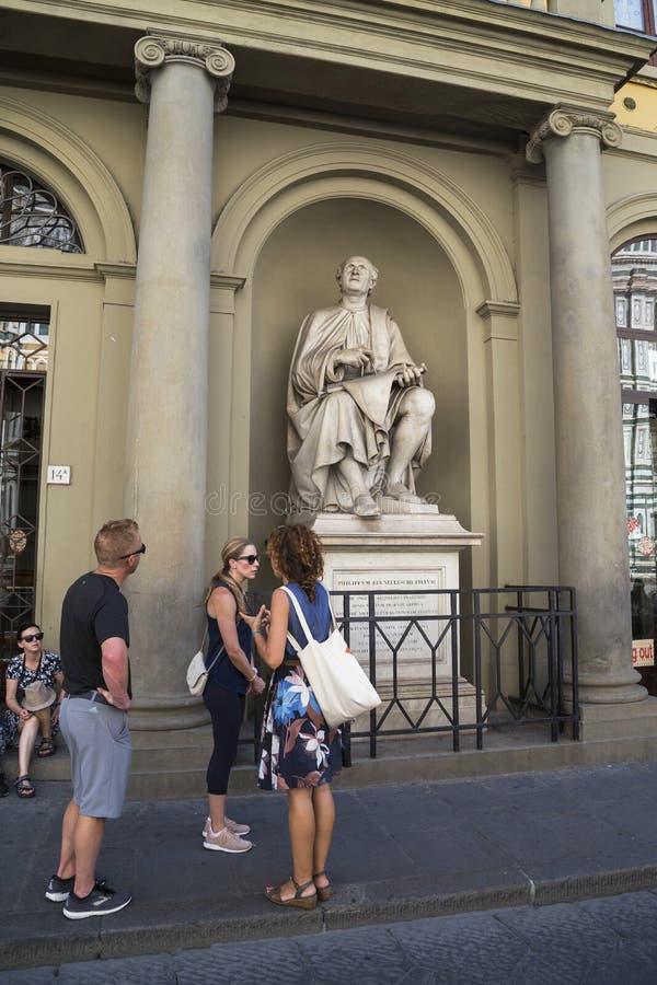 No monumento ao arquiteto Brunelleschi, Florença fotos de stock royalty free