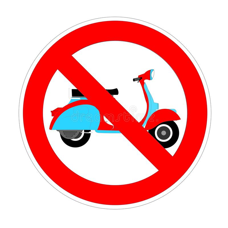 No moped or scooter forbidden sign, red prohibition symbol stock illustration
