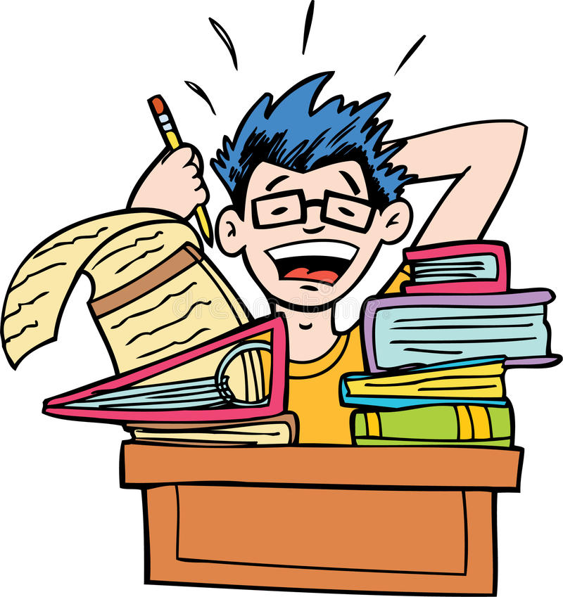 No More Homework. Student is overwhelmed by his homework vector illustration