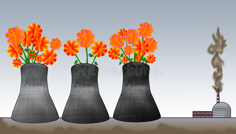 No more polution!. Industrial site illustration and flowers growing in furnace. Stop the polution concept royalty free illustration