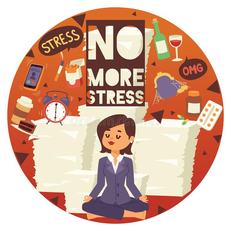 No more stress motivation background vector illustration. Young, calm, cartoon woman sittting and meditating. Female vector illustration