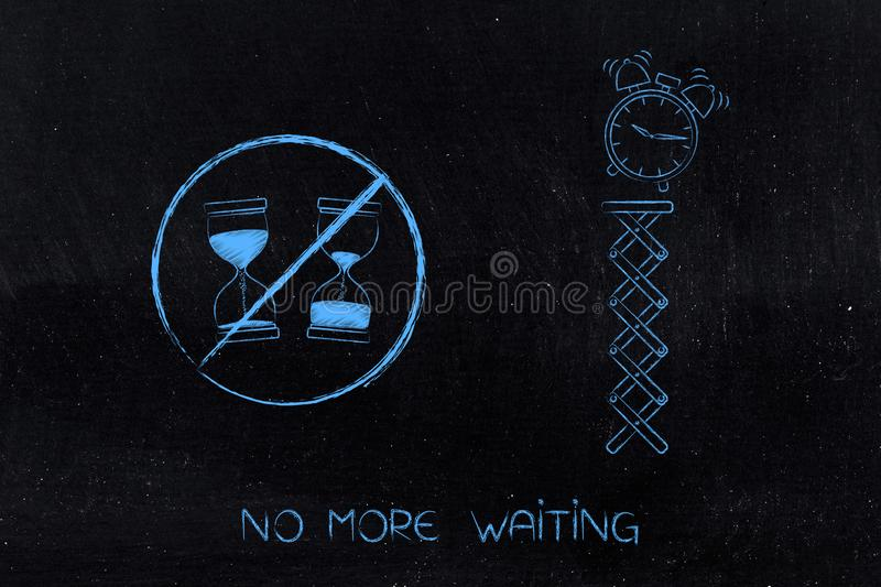 No more waiting hourglass with time passying by crossed out next royalty free stock photo