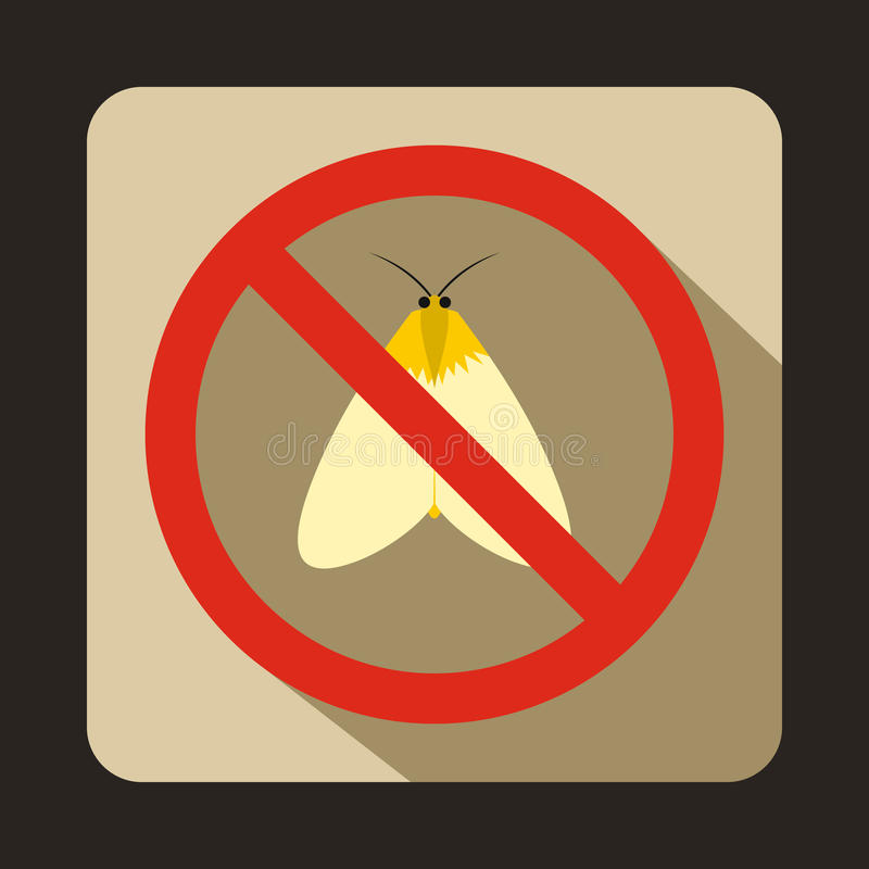 No moth sign icon, flat style vector illustration