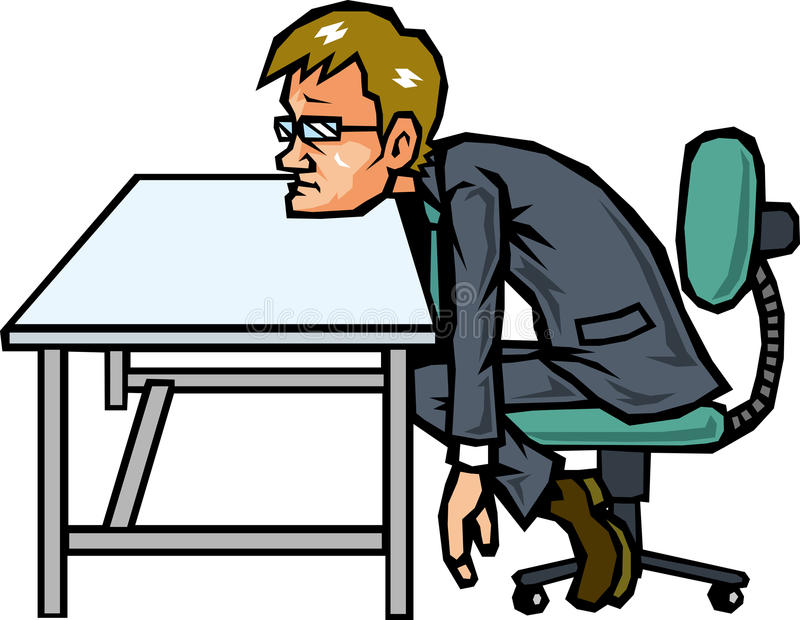 No motivation businessman. Businessman with no motivation to leaning on desk stock illustration