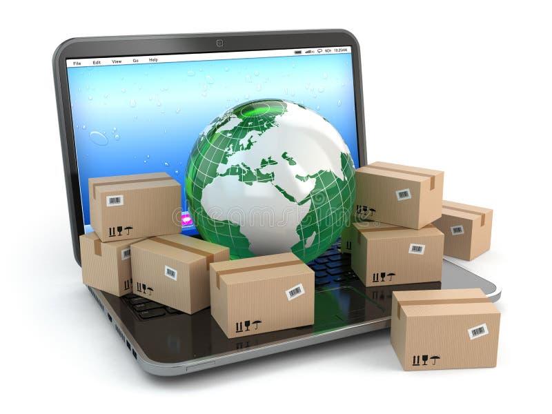 No mundo inteiro entregando. Terra e caixas no portátil. ilustração stock