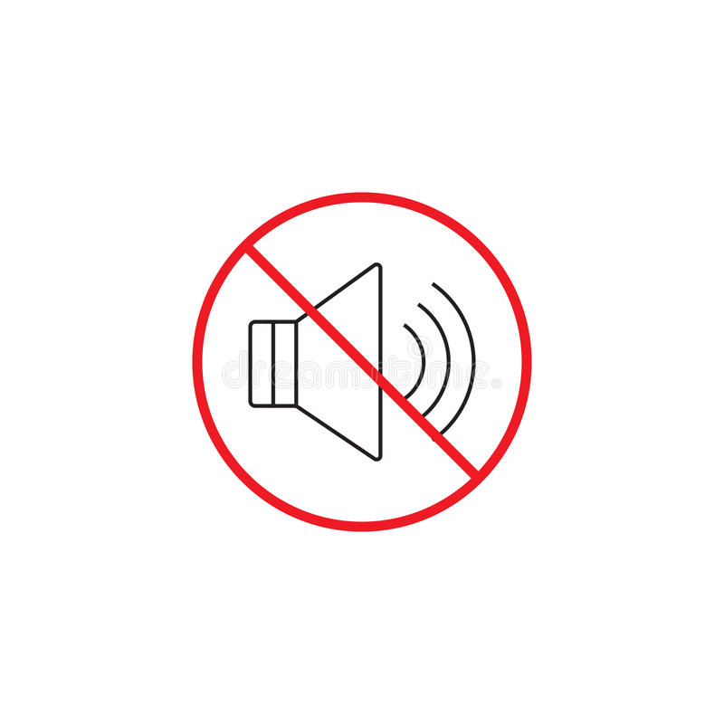 No noise line icon, no sound red prohibited sign. Vector graphics, a linear color pattern on a white background, eps 10 royalty free illustration