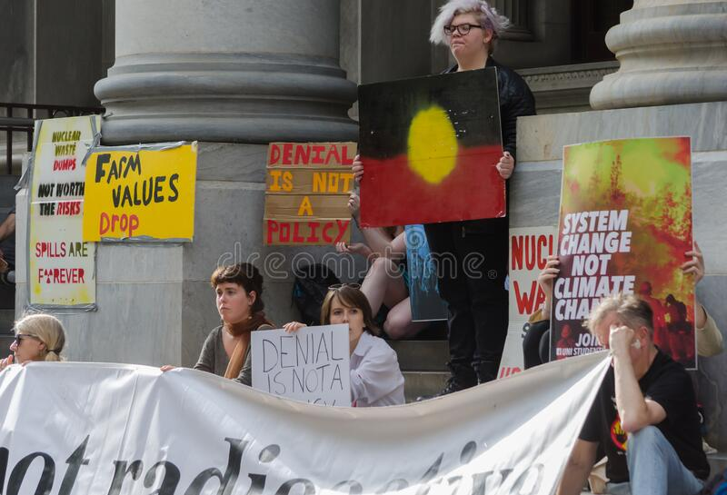 No Nukes!. Adelaide, AU - February 7, 2020: Hundreds gather at Adelaide Parliament House for Environmental Protest: No Coal, Oil or Gas! No Nuclear Dump royalty free stock images
