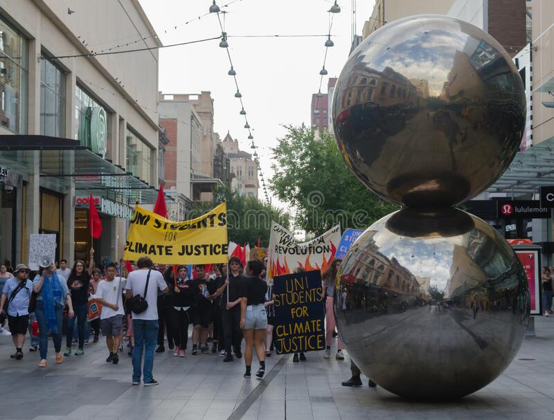 No Nukes!. Adelaide, AU - February 7, 2020: Hundreds gather at Adelaide Parliament House for Environmental Protest: No Coal, Oil or Gas! No Nuclear Dump stock images