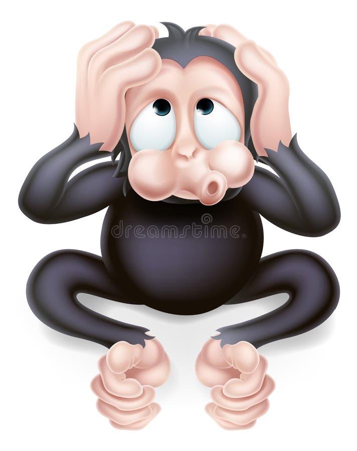No oiga ningún mono malvado ilustración del vector