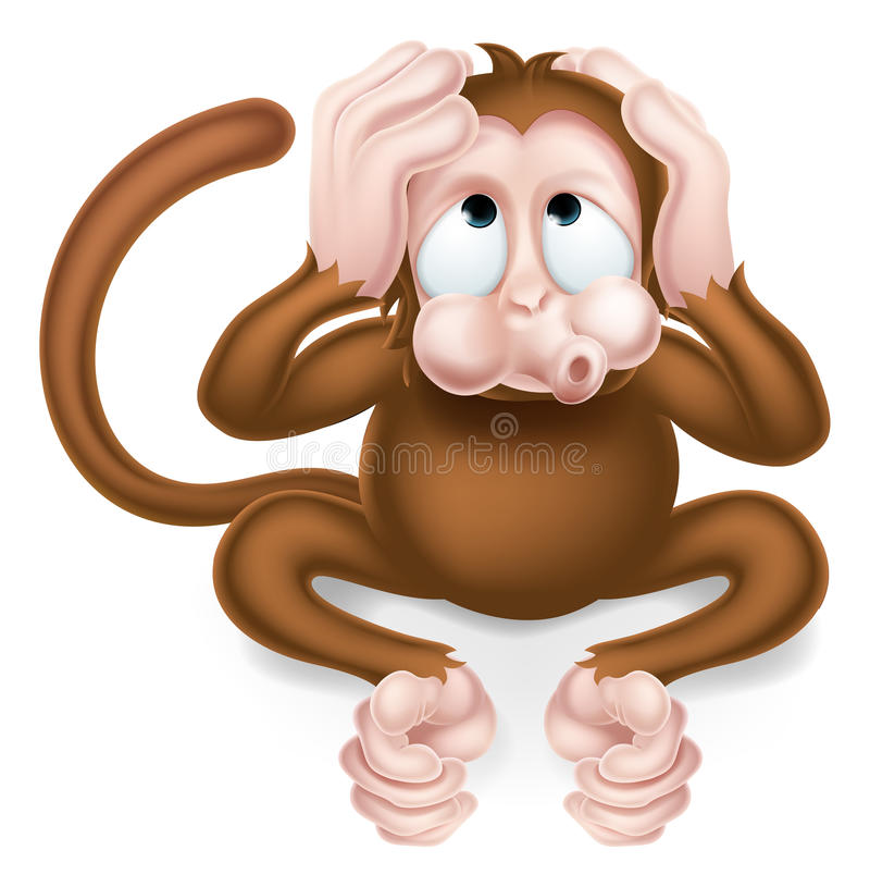 No oiga ningún mono sabio de la historieta malvada stock de ilustración