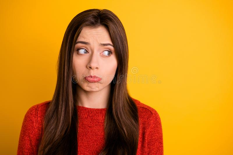 No one loves me.... Portrait of discontent unhappy woman have communication relationship problem suffer from autumn royalty free stock photography