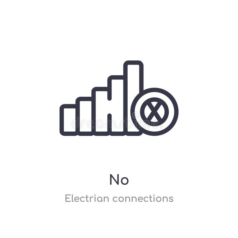 no outline icon. isolated line vector illustration from electrian connections collection. editable thin stroke no icon on white royalty free illustration