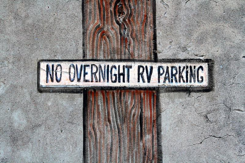 No overnight RV parking sign. royalty free stock photo