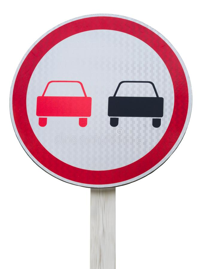 No overtaking road sign. Isolated on white stock photos