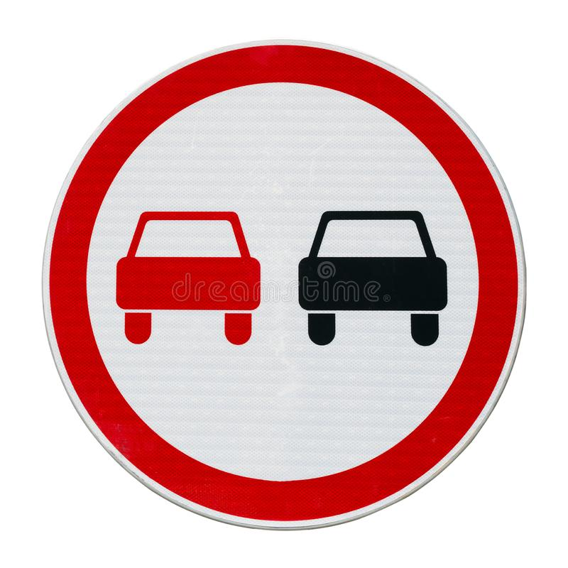 No overtaking road sign isolated on a white. No overtaking road sign isolated on a white square stock photography