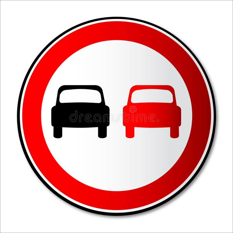 No Overtaking Road Traffic Sign Isolated. A no overtaking United Kingdom round road traffic sign over a white background vector illustration