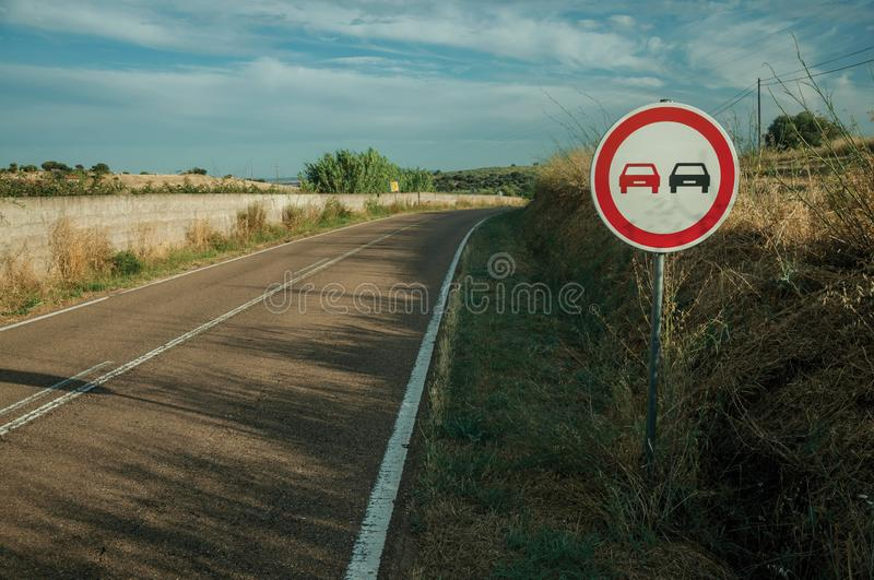 NO OVERTAKING traffic sign in a road near Elvas stock photos
