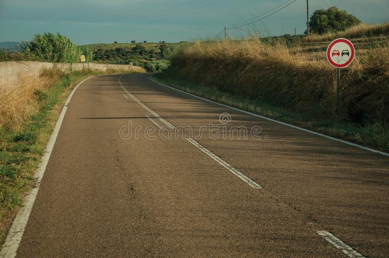 NO OVERTAKING traffic sign in a road near Elvas royalty free stock photography