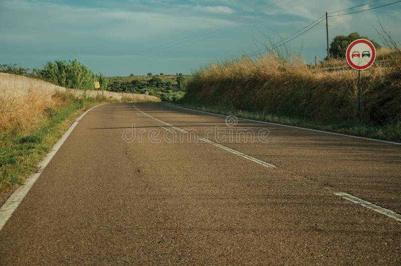 NO OVERTAKING traffic sign in a road near Elvas stock image