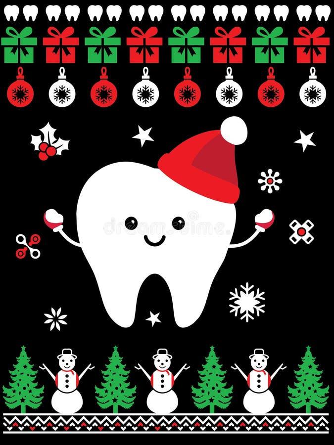 No Pain Dentist Doctor Christmas Santa Fun style T-shirt Design royalty free illustration