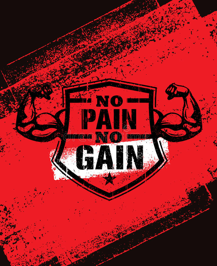 Free No Pain No Gain. Gym Workout Motivation Quote Vector Concept. Sport Fitness Inspiration Sign. Muscle Arm Stock Images - 86314064