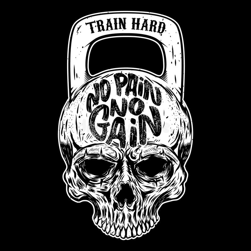 Free No Pain No Gain. Train Hard. Skull In The Form Of A Weight. Stock Photos - 105627093
