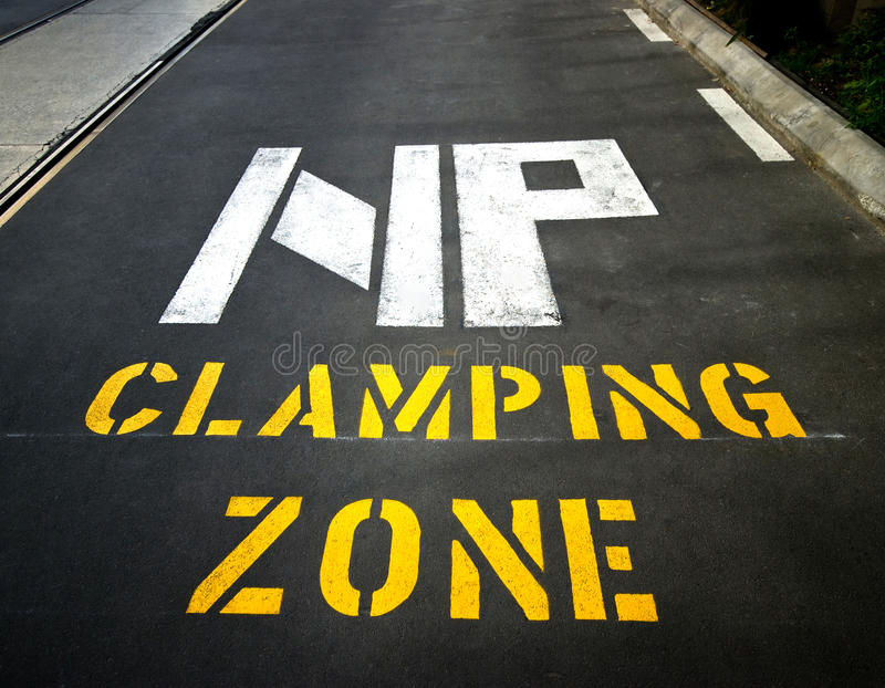 Download No parking Clamping Zone stock image. Image of parking - 11683485