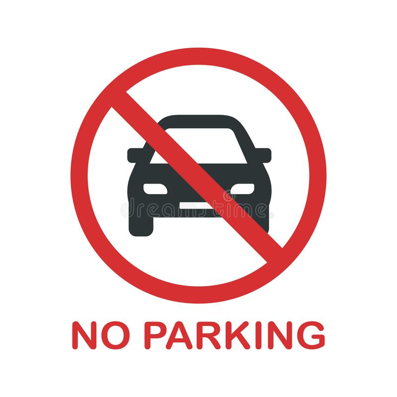 No parking prohibition sign. You cannot park a car here stock illustration
