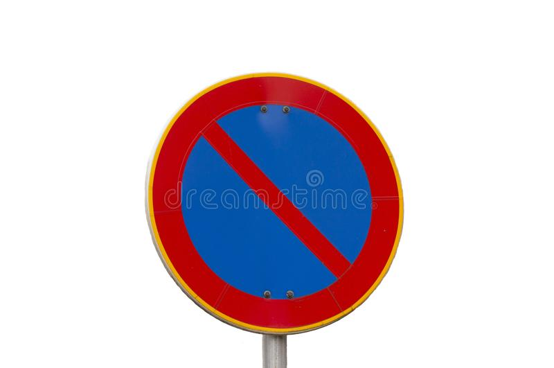 No parking road sign on autumn trees background. No parking road sign on autumn trees background royalty free stock photo