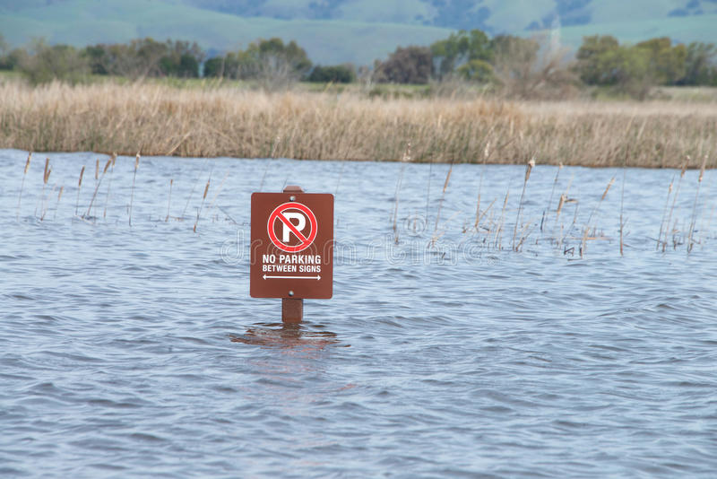 No parking sign, flooded parking lot. Parking lot sign submerged in flood waters after recent torrential rain fall. Flooded stock photos