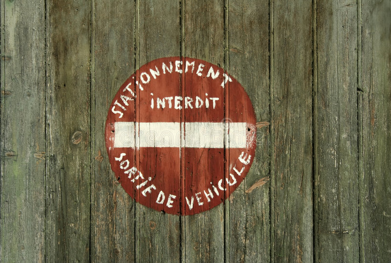 Download No Parking Sign In French Hand Painted Stock Photo - Image: 6546550