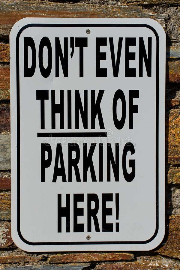 no parking sign with a funny text royalty free stock image