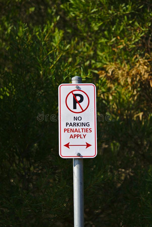 No Parking Sign. No Parking Penalties Apply Sign royalty free stock photography